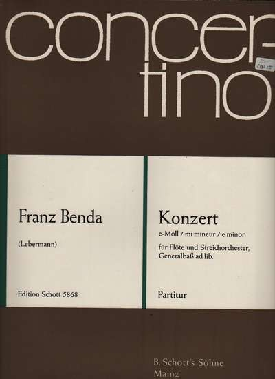 photo of Koncert e minor für Flöte und Streichorchester, score