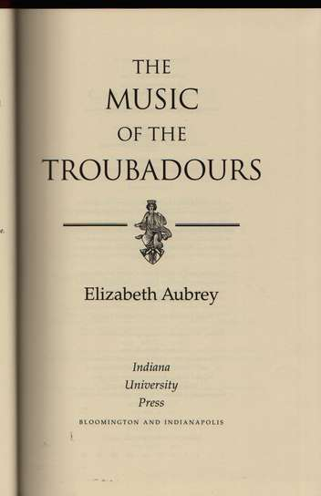 photo of The Music of the Troubadors (cloth cover)