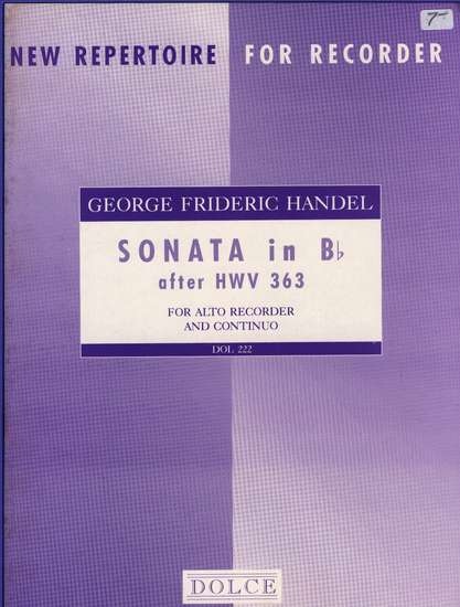 photo of Sonata in B flat after HWV 363