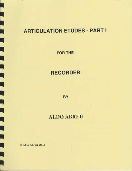 photo of Articulation Etudes- Part I for the Recorder
