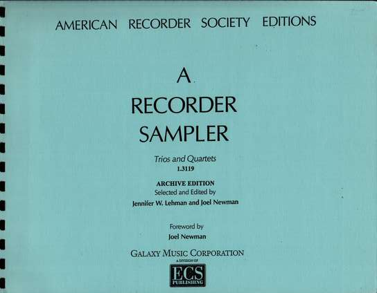 photo of A Recorder Sampler, Trios and Quartets, from ARS edtions