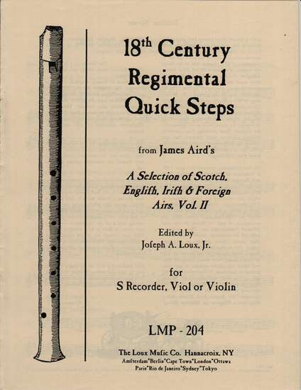 photo of 18th Century Regimental Quick Steps from A Selection of Airs, Vol. II
