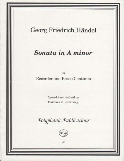photo of Sonata in A minor, Opus 1/4 HWV 362