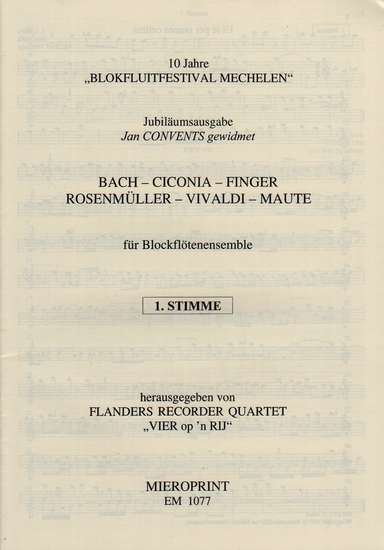 photo of Ciconia, Bach, Vivaldi, Finger, Rosenmuller, Maute: Flanders Recorder Quartet