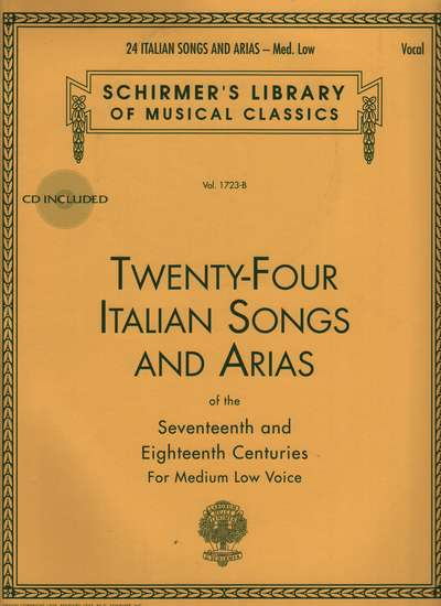 photo of Twenty-Four Italian Songs and Arias of the 17th and 18th Centuries, Med Low CD