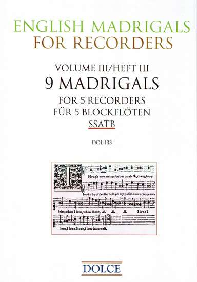photo of English Madrigals for Recorders, Volume III, 9 Madrigals for 5 Recorders
