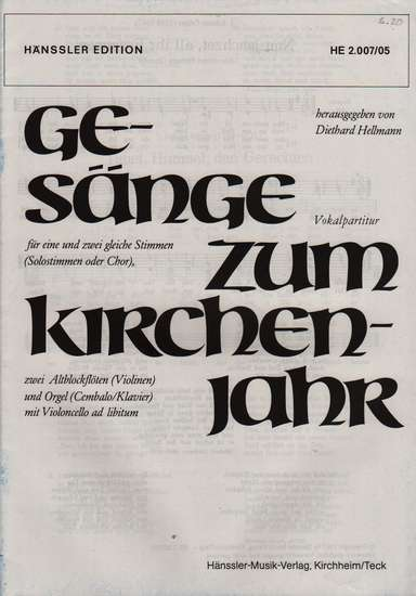 photo of 31 Hymns for the Church Year for equal voices, Vocal part, in German