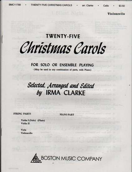 photo of Twenty-Five Christmas Carols for Solo or Ensemble Playing, Violincello