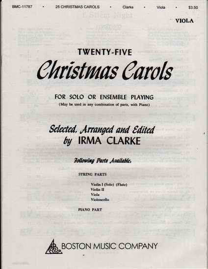 photo of Twenty-Five Christmas Carols for Solo or Ensemble Playing, Viola
