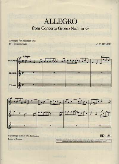 photo of Allegro from Concerto Grosso No. 1 in G (from HWV 319)