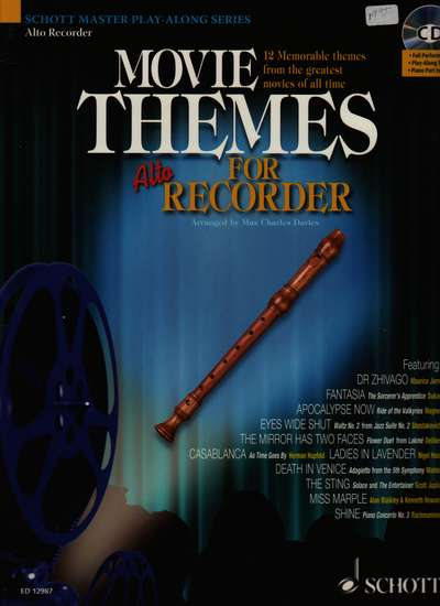 photo of Movie Themes for Alto Recorder, 12 Memorable themes, play along CD
