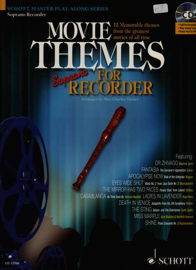 photo of Movie Themes for Soprano Recorder, 12 Memorable themes, play along CD