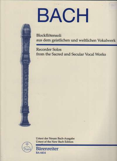 photo of Recorder Solos form the Sacred and Secular Vocal Works, Urtext New Bach Edition