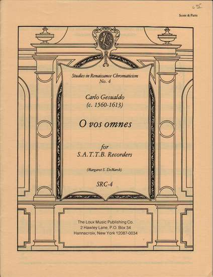 photo of Studies in Renaissance Chromaticism 4, O vos omnes