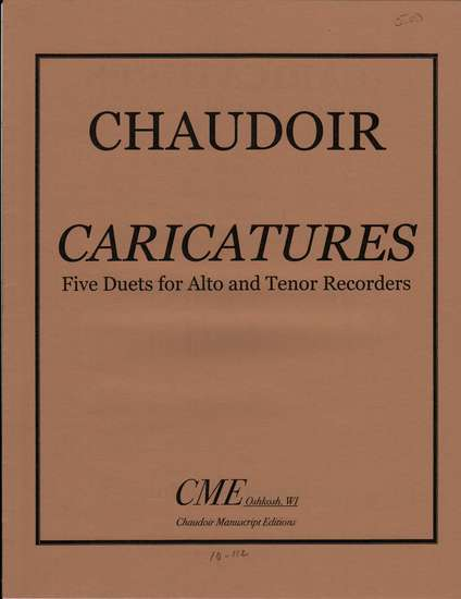 photo of Caricatures, Five Duets for Alto and Tenor Recorders
