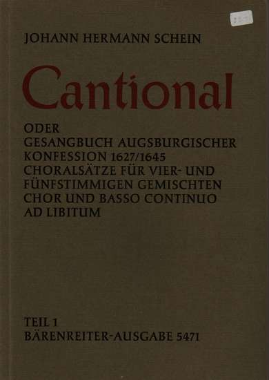 photo of Cantional Teil 1, Choral settings for four and five part mixed choir