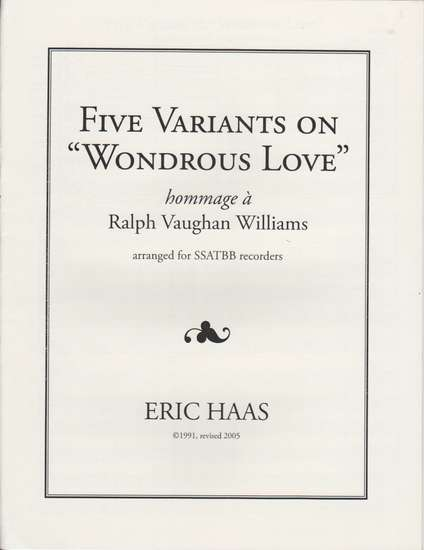 photo of Five Variants on Wondrous Love, hommage a Ralph Vaughan Williams