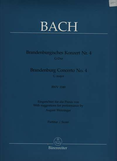 photo of Brandenburg Concerto No. 4 G major, BWV 1049, score