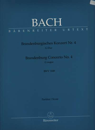 photo of Brandenburg Concerto No. 4 G major, BWV 1049, score, Urtext