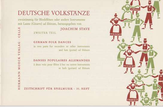 photo of German Folk Dances for two recorders and lute or guitar, Part 2