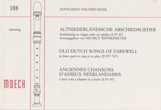 photo of Old Dutch Songs of Farewell