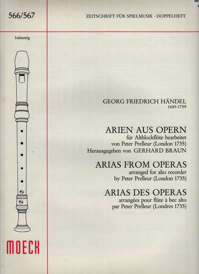 photo of Arias from Operas arranged by Peter Prelleur