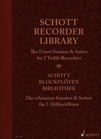 photo of Schott Recorder Library, The finest Sonatas & Suites for 2 alto recorders