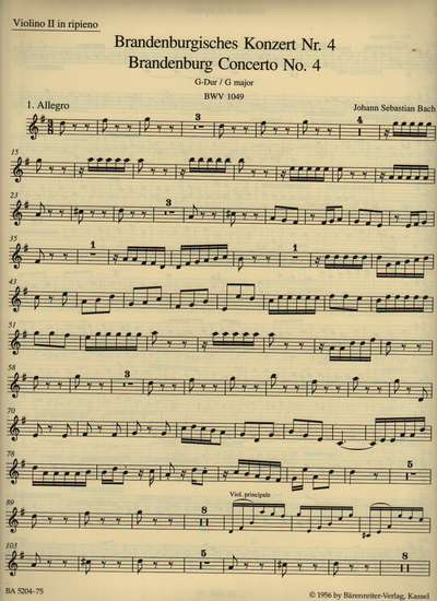 photo of Brandenburg Concerto No. 4 G major, BWV 1049, Violin II, Urtext
