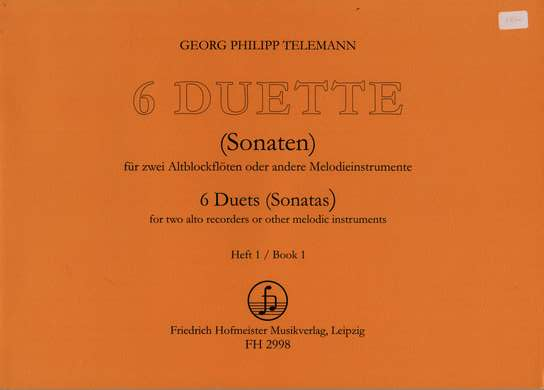 photo of 6 Duets, Sonatas, Book 1, Op. 2, Ns. 1-3, TWV 40:102.101.103 transposed
