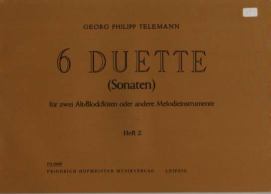 photo of 6 Duets, Sonatas, Book 2, Op. 2, Ns. 4-6, TWV 40:104-106 transposed