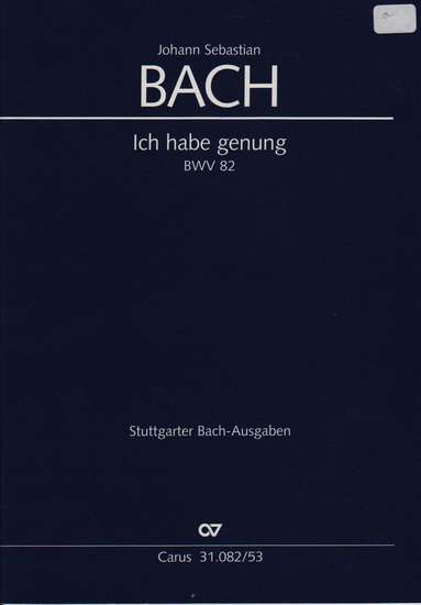 photo of Ich habe genung, BWV 82, vocal part with keyboard