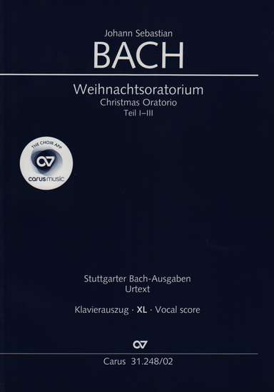 photo of Christmas Oratorio, BWV 248, Cantatas I-III vocal score, larger print, paper