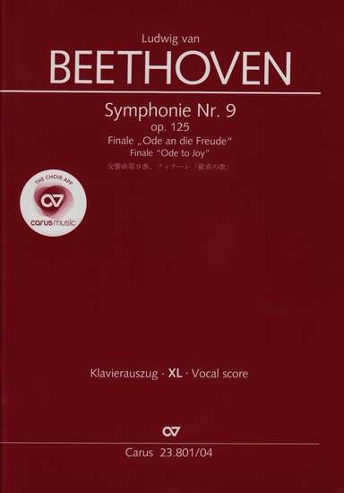 photo of Symphony Nr. 9, op. 125, Finale, Ode to Joy, vocal score, Large print