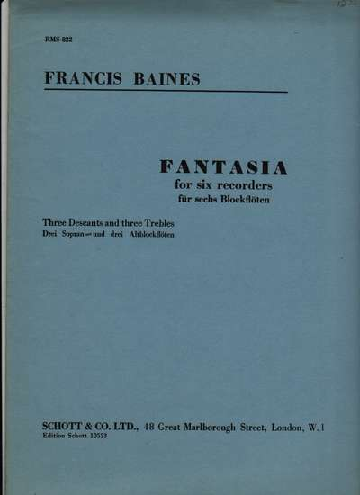 photo of Fantasia for six recorders (RMS 822)