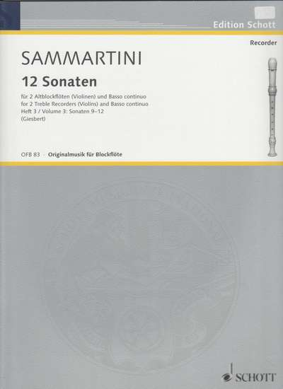 photo of Twelve Sonatas, Vol. III; 9. G major, 10. F major, 11. F major, 12. B flat major