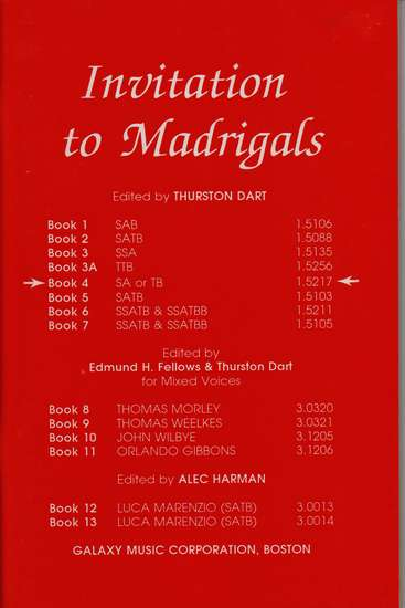 photo of Invitation to Madrigals, Book 4