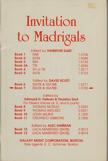 photo of Invitation to Madrigals, Book 7