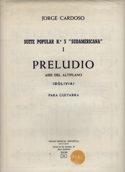 photo of Preludio, Suite Popular No. 3 Sudamericana (slightly shopworn)