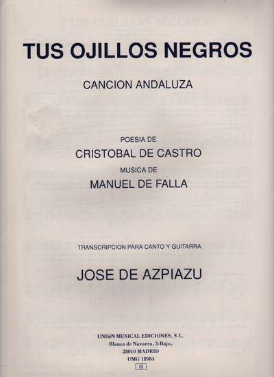 photo of Tus Ojillos Negros, Cancion Andaluza