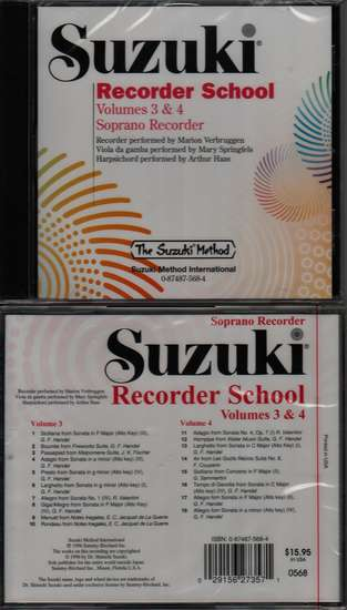 photo of Suzuki Recorder School, Vol. 3 & 4, Soprano, CD